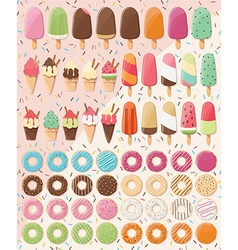 Huge collection of 28 ice creams and 32 donuts vector