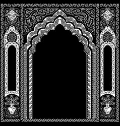 Indian ornamented arch white and black vector