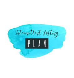 Intermittent fasting plan watercolor logo vector