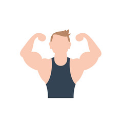 Isolated gym man muscle icon flat design vector