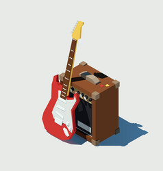 Isometric electric guitar and guitar combo vector