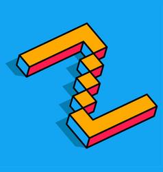isometric z letter z 3d logo vector image