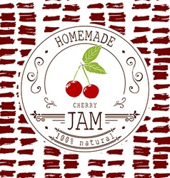 Jam label design template for cherry dessert vector