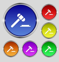 Judge or auction hammer icon sign Round symbol on vector