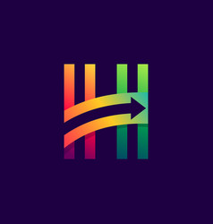 letter h logo with arrow inside vector image