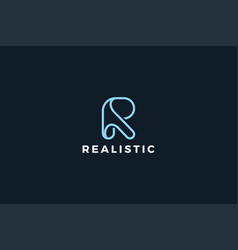 Letter r creative minimal line art logo vector