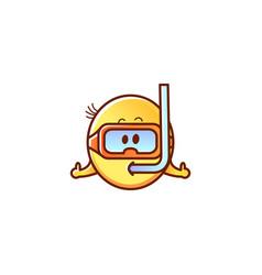male smiley face emoticon snorkeling vector image