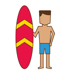 man in short with surfboard vacations vector image