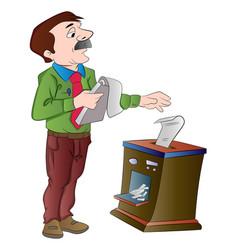 Man shredding documents vector