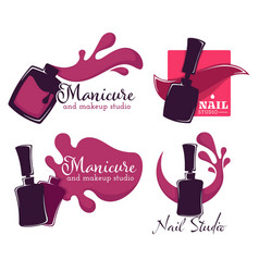Manicure and nail studio isolated icons polish or vector