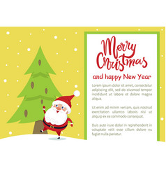 Merry christmas happy new year poster santa tree vector