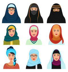 Middle eastern female avatars set arabian muslim vector