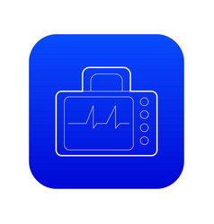 monitor with cardiogram icon blue vector image