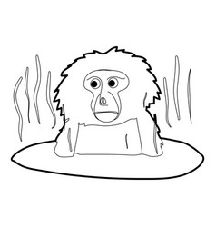 Monkey bathe icon outline vector