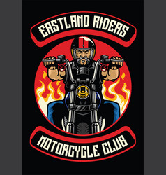 Motorcycle club badge of old man ride motorcycle vector