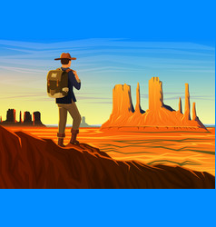 mountain and monument valley with tourist morning vector image