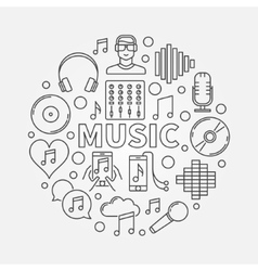 Music line round vector