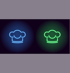 neon chef hat in blue and green color vector image