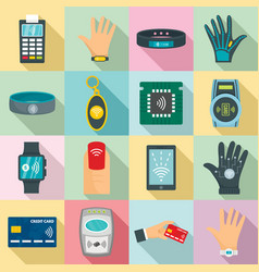 nfc technology icon set flat style vector image