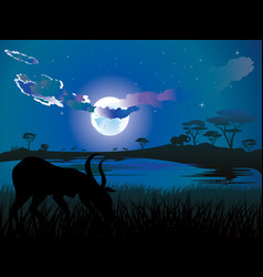 night landscape with antelopes vector image