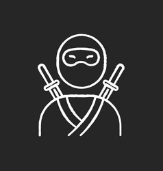 Ninja chalk white icon on black background vector