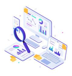 Online financial audit isometric website metrics vector