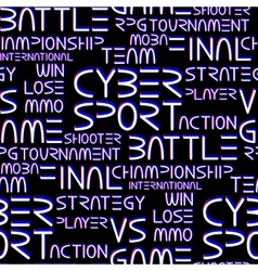 Patern with cyber sport words vector