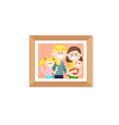 photo frame with cheerful cartoon family vector image