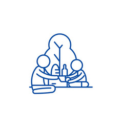 picnic in the park line icon concept picnic in vector image