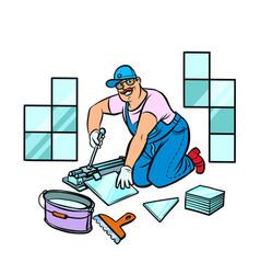 professional worker laying tile repair work vector image