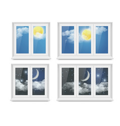 realistic white plastic window icon set vector image