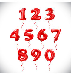 Red number 1 2 3 4 5 6 7 8 9 0 metallic balloon vector