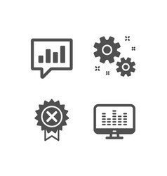 Reject medal analytical chat and work icons vector