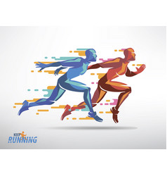 Running athletes symbol sport and competition vector