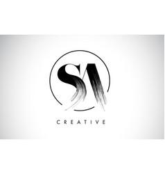 Sa brush stroke letter logo design black paint vector