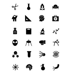 Science solid icons 4 vector