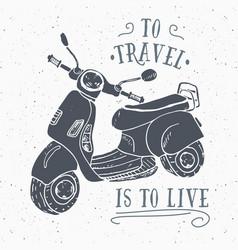 scooter motorbike vintage label hand drawn sketch vector image
