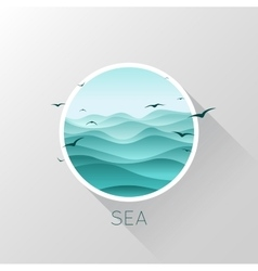 Sea icon Waves and seagulls vector
