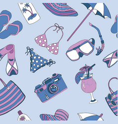Seamless background with beach theme objects vector
