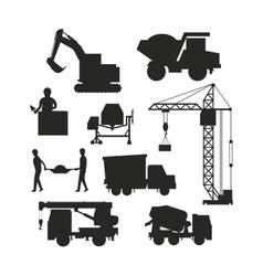 Set heavy construction equipment silhouette vector