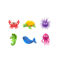 set of cartoon sea creatures with funny faces vector image