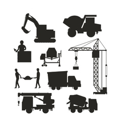 Set of heavy construction equipment silhouette vector