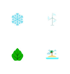 set of nature icons flat style symbols with island vector image