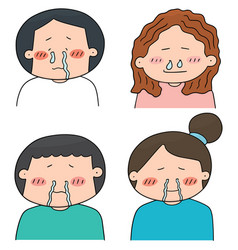 Set of runny nose people vector