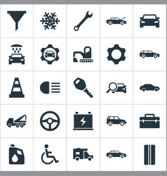 Set of simple auto icons elements truck snowflake vector