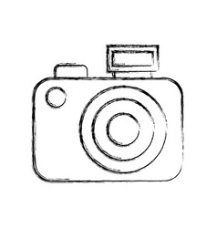 Sketch draw camera cartoon vector