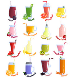 Smoothie cocktails icon set vector