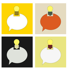 Speech bubble and lamp idea doodle cute miniature vector