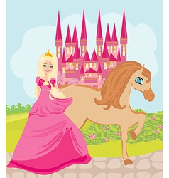 The beautiful princess and her cute horse vector
