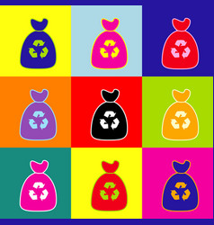 Trash bag icon pop-art style colorful vector